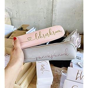 Geschenk für Sie – Mäppchen personalisiert rosa oder grau gegen Unordnung in der Handtasche Stifteetui personalisiert