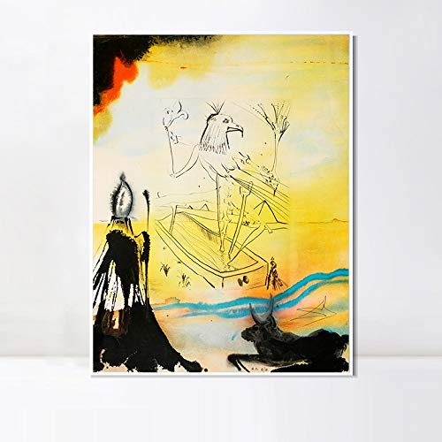 INVIN ART Framed Canvas Series#042 by Salvador Dalí Wall Art Living Room Home Office Decorations(White Slim Frame,28″x40″)