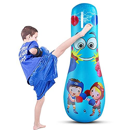 iFCOW Uppblåsbar boxningsväska för barn fristående boxningssäck för träning stresslindring