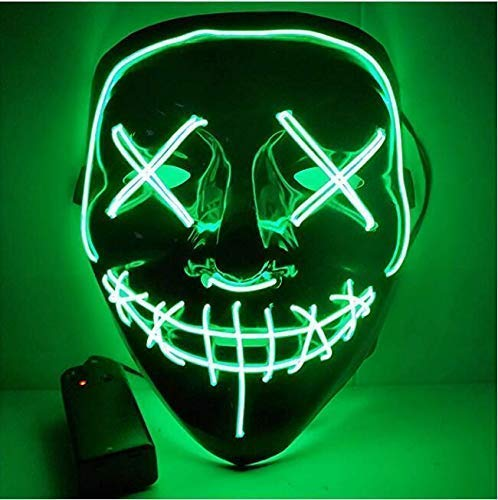 Foneso Maschera LED per Halloween con maschera, luce per trasmettitori di orrore, Halloween, per Natale, cosplay, Grimace, Festival, Party Show, alimentata a batteria verde taglia unica