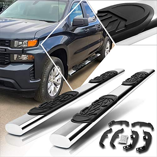 6 Inches Oval Side Step Nerf Bar Compatible with Silverado/Sierra Crew Cab 19-20 Running Boards Chrome