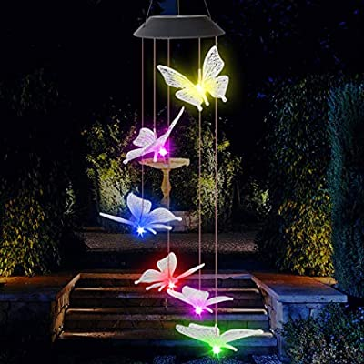 Solar Wind Chimes Outdoor, Color Changing Solar Powered Waterproof LED Windchime Hanging Lamp for Outdoor Garden Festival Decoration, Garden Yard Outdoor Light Decor (butterfly)