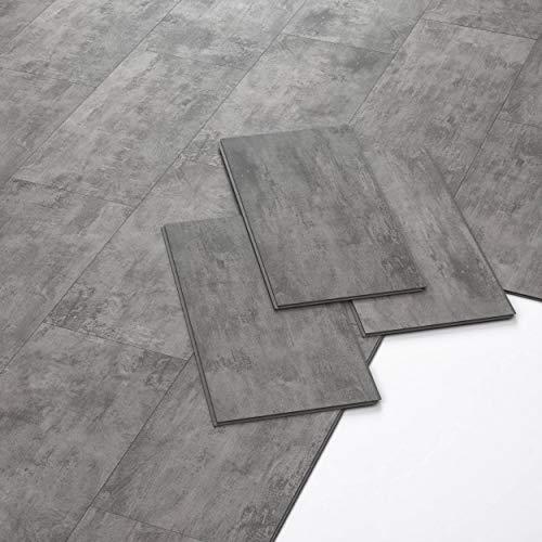 ARTENS - PVC Bodenbelag - Click Vinylboden- Marmoreffekt - Dunkelgrau - 1,49m²/8 Fliesen