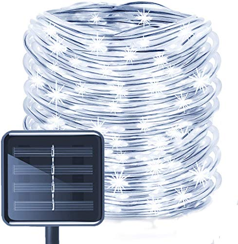 Solar Rope Lights, EONANT 39ft / 12M 100LED Impermeabilice las Luces de Cadena de Alambre de Tubo de Cobre para Jardín, Patio, Camino, Cerca, Escaleras, Patio Trasero, Patio Decorativo (Blanco)