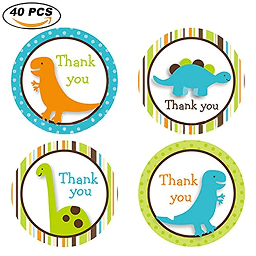 Birthday Round Circle Labels Stickers, Thank You for Celebrating with US, 4 Style Animal Dinosaur, 40-Pack, for Gifts and Party Favors