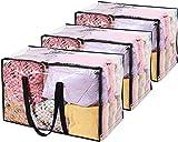 Vieshful 3 Paquetes Bolsas de Almacenamiento Transparentes 110L Sobredimensionado Bolsas de Ropa con Cremalleras Dobles Mangos Robustos Totalizador Bolsas de Mudanza para Edredones Edredones y Mantas
