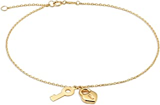 10K Yellow Gold .50mm Diamond Cut Rolo Chain with a Lock and Key Pendants Anklet Adjustable 9