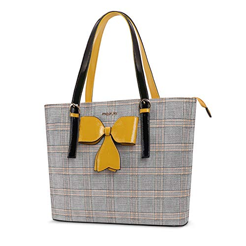 MOSISO laptoptas voor dames, 15,6 inch premium PU lederen rooster patroon grote capaciteit werken reizen aktentas handtas met strik geel