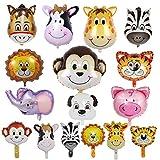 SwirlColor Globos Animales, Farm Animal Balloons Divertido Colorido Inflable Burro Cerdo Perro Elefante Tigre León Cebra Mono Vaca Jirafa Globos 16 Piezas