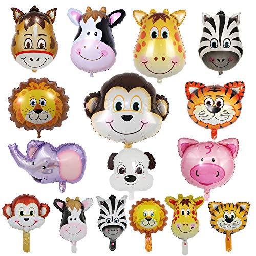 SwirlColor Palloncini Animali Fattoria, Palloncini Animali Fattoria Divertente Asino Gonfiabile Colorato Maiale Cane Elefante Tigre Leone Zebra Scimmia Mucca Palloncini Giraffa 16 Pezzi