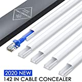 2020 New Cord Hider, 142in Mini Wire Cable Cover, PVC Cable Concealer Channel, Paintable Cord Cover to Hide Speaker Wire, Ethernet Cable, 9X L15.7in W0.5in H0.35in, CC05 White