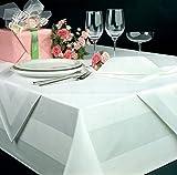 Damast Tischdecke weiß – 130 x 280 cm – bei 95°C waschbar - 3