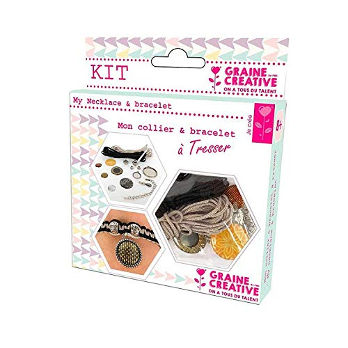 Graine Créative Kit Bijoux, pour Collier et Bracelet à tresser, Couleur Noir et Jaune, DIY