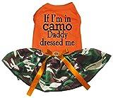 Petitebella If I'm in Camo Daddy Dressed Me Puppy Dog Dress (Orange/Camouflage, Small)