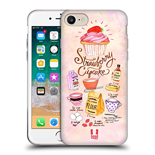 Head Case Designs Cupcake Fragola Ricette Illustrate Cover in Morbido Gel Compatibile con Apple iPhone 7 / iPhone 8 / iPhone SE 2020