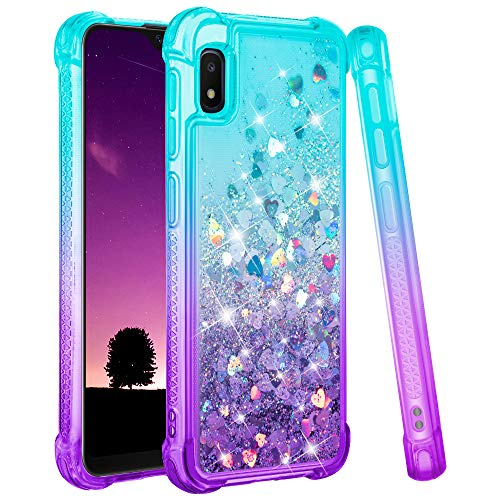 Ruky Samsung Galaxy A10E Case, Galaxy A10E Glitter Bling Flowing Liquid Floating [Gradient Quicksand Series] Soft TPU Bumper Cushion Protective Women Girls Phone Case for Galaxy A10E, (Teal Purple)