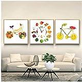 ZNNHERO Comida Divertida Pintura Fruta Bicicleta Frutas Cartel nórdico Manzana limón decoración de la Cocina Impresiones en Lienzo Cuadros de Pared para Sala de estar-50x50cmx3 sin Marco
