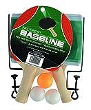 Basline-K-REY-TY5853 Baseline-Set da Ping Pong con 2 Pipistrelli, 3 Palline e Rete, Colore Nero, TY5853