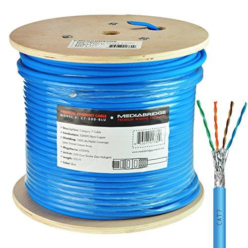 Mediabridge Solid Copper Cat7 Ethernet Cable (500 Feet, Blue) - Low-Smoke Zero Halogen Jacket (Part#...
