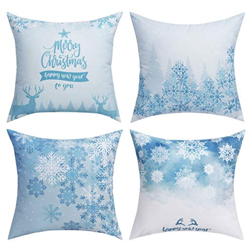 BLEUM CADE Pack of 4 Merry Christmas Decorative Pillow Cover Snowflakes Pillow Covers Elk Throw Pillow Cover Daily Cushion Cover for Christmas Home Office Car Sofa …