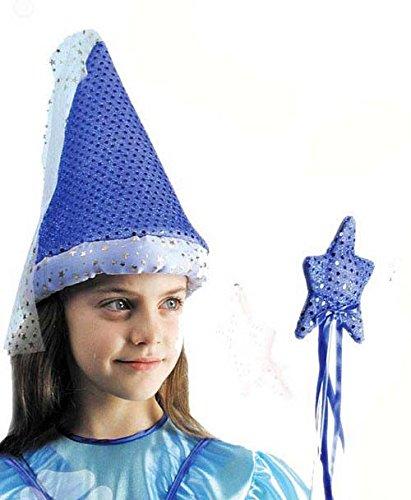Chapeau De Fée Bleu au Choix Lamé Et Paillettes Avec Voile comme au Moyen Melusine Dulcina