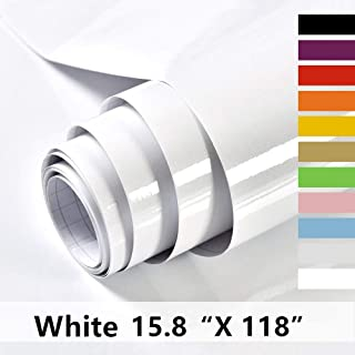 Home Dr White Contact Paper Self Adhesive Vinyl Film Decorative Contact Paper for Countertops Kitchen Cabinet Waterproof Removable Shelf Paper Leave No Trace Surfaces Easy to Clean