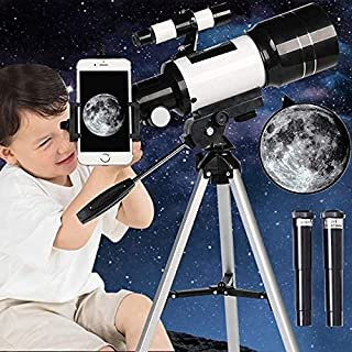 Kixre Telescope for Kids& Beginners, 70mm Aperture 300mm Astronomical Refractor Telescope, Tripod& Finder Scope- Portable ...
