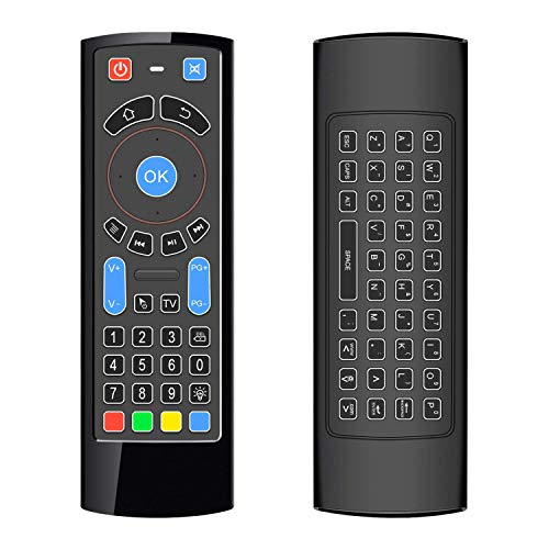 ILEBYGO Updated Bluetooth Air Mouse for Android tv Box, Mini Wireless Keyboard Air TV Remote Mouse Control with Backlit CR3 for Android TV Box, Mini PC, Smart TV, HTPC, All-in-One PC/TV