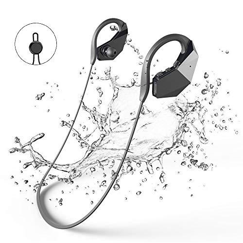 GogoTool - Auriculares con Bluetooth (Resistente al Agua, 8 GB, Reproductor de MP3, Bluetooth 4.1, IPX8, inalámbricos, con micrófono Integrado y tecnología de cancelación de Ruido)