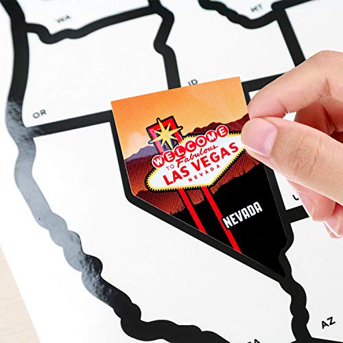 """Product Image 3: SEE MANY PLACES .com RV State Stickers United States Travel Camper Map RV Decals for Window, Door, or Wall ~ Includes 50 State Decal Stickers with Scenic Illustrations (21"""" x 14.5""""/Large) See Many Pla"""