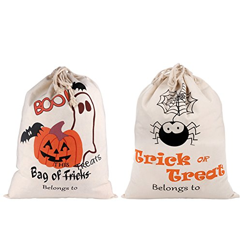 Aytai 2pcs Trick or Treat Bags Halloween Sacks, Canvas Pumpkin Bags for Kids Presents Halloween Decorations