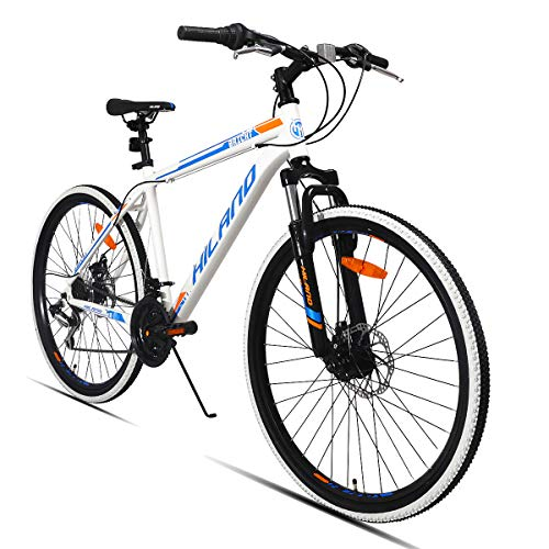 Hiland 26 Inch Mountain Bike MTB Bicycle with 18 Inch Steel Frame Kickstand Disc-Brake Suspension Fork Cycling Urban Commuter City Bicycle White Blue
