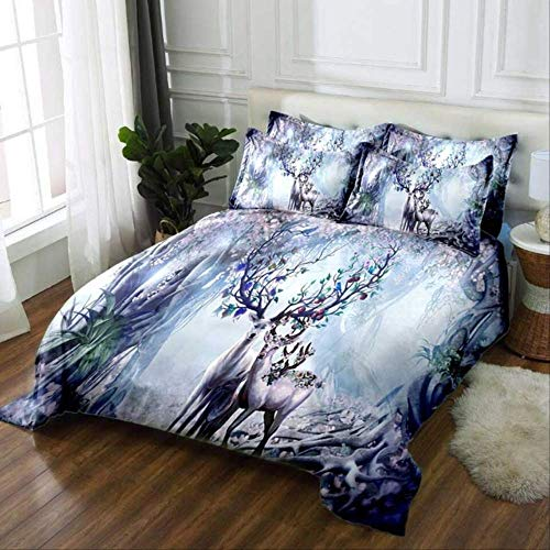 WGLG Double Bed Duvet Sets, 3D Printing Scenery Deer Duvet Cover Set And Pillowcases Home Textiles Bedding Set Animal Pattern Linens Bedclothes