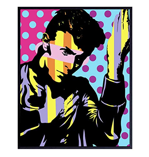 David Bowie Poster - 8x10 Wall Art, Wall Decor - Home Decoration for Bedroom, Living Room, Apartment - Cool Unique Gift for 80s Music, Ziggy Stardust Fan - Andy Warhol Style Pop Art Picture - UNFRAMED