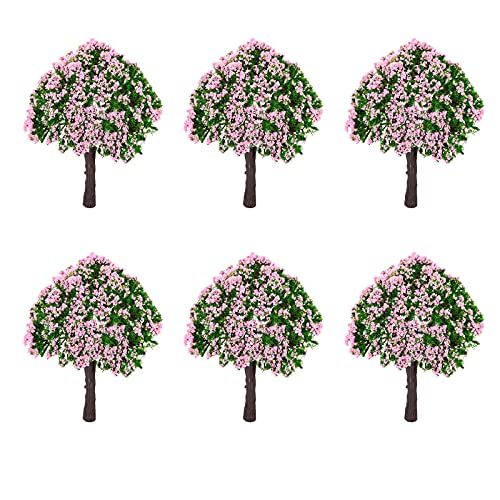 Modell Baum Kunststoff Modell Bäume Zug Bäume Eisenbahn Landschaft Garten Landschaft Blumen Bäume Kunststoff Künstliche Miniatur Baum für Modellbau Modelleisenbahn Puppenhaus Garten Deko 6 Stück