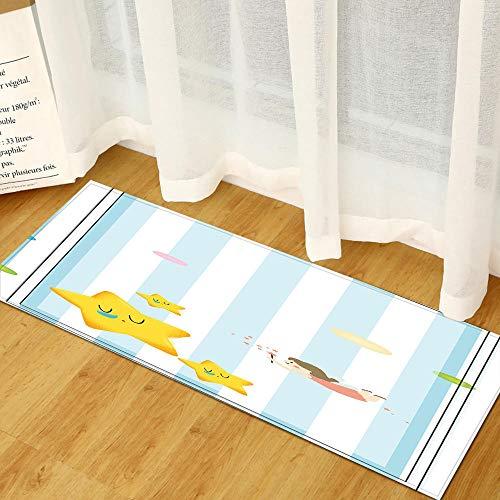 XIAOZHANG Alfombrilla De Entrada Franela Suave Sea Girl Star Decoración para El Hogar Alfombrillas De Cocina Alfombras De Dormitorio Antideslizantes Sofá Mesa Alfombras De Noche 60X90Cm
