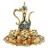 KUIDAMOS Vintage Turkish Coffee Pot Set,Vintage Turkish Coffee Pot with 6 Coffee Cups,Turkish Copper...