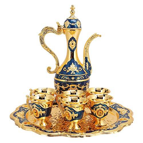Vintage Türkische Kaffeekanne Set, Vintage Türkische Kaffeekanne mit 6 Kaffeetassen, Türkische Kupfer Kaffeetasse Set, Einschließlich Craft Tea Tray Teekanne und Teetassen(Blue)