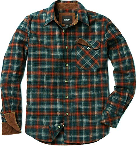 CQR Men's All Cotton Flannel Shirt, Long Sleeve Casual Button Up Plaid Shirt, Brushed Soft Outdoor Shirts, Corduroy Lined(hof110) - Holiday, X-Large