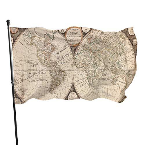 Historic World Map Vlag voor buiten, vlag, vlag, vlag, 3 x 5 voeten