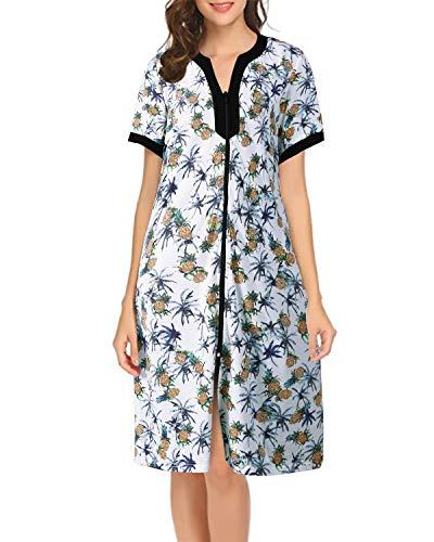 Sunnyme Damen Bademantel mit Reißverschluss, kurze Ärmel, tropischer Druck, kurz, Hausmantel, Nachthemd, weich Gr. Medium, blau