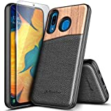 Galaxy A20/A30 Case with Tempered Glass Screen Protector, NageBee Premium Natural Wood Canvas Fabrics Armor Defender Dual Layer Shockproof Hybrid Case for Samsung Galaxy A20/A30 (6.4 Inch) -Wood