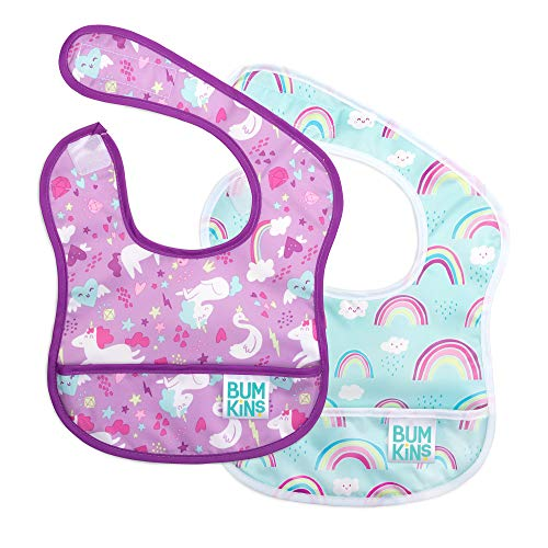 Bumkins Starter Bib, Baby Bib Infant, Waterproof, Washable, Stain and Odor Resistant, 3-9 Months, 2-Pack