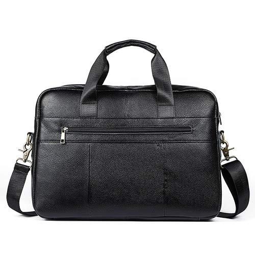 QSGNR Aktentasche Umhängetasche Männer Leder Laptoptasche 14 \'\' Totes Echtes Leder Umhängetaschen Lässige Crossbody Taschen Männliche Handtaschen Schwarz