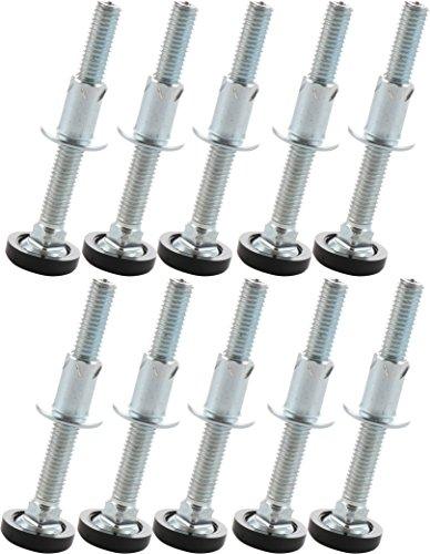 SECOTEC Höhenverstellschrauben mit Einschlagmuttern; Regulierschrauben M8 x 100 mm; Inhalt: 10 Stück