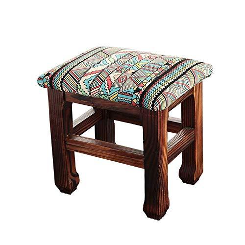Antieke soft vierkante kruk, retro, huis, slaapkamer, volwassenen, make-uptafel, van massief hout, zitzak, kruk, huishouden, verwisselbaar, schoenenbank, kinderbank, kruk, voetenbank, voor keuken Nunlea3875r-3 Nunlea3875r-3
