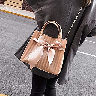 Adebie - Summer New Scarf Bow Transparent Clear Women Handbag Beach Sweet Brand Designer Crossbody Shoulder Bag Lady Jelly Large Tote Bag Pink []