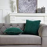 DEZENE 50x50cm Fundas de Almohada Decorativas con Pompones - Verde Cuadrado Paquete de 2 Fundas de Cojín de Granos de Maíz Grande a Rayas de Pana para Sofá de Granja