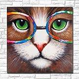 LNMHV Pintura de Ojos de Gato Verde con Gafas de Colores Pop Canvas Wall Art Cat Posters e Cuadros Impresas para la Salon de Estar Decoracion de la Pared del hogar 60x60cmx1 Sin Marco