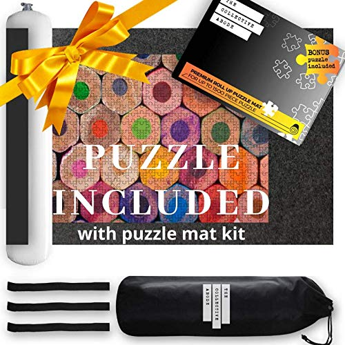 Puzzle Mat Roll Up for Jigsaw Puzzles Includes a Bonus 500 Piece Jigsaw Puzzle....